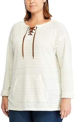 Chaps Plus Size Lace Up Pop Over Knit Top