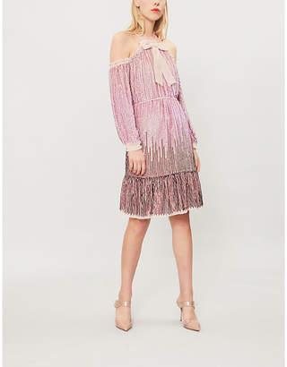 NEEDLE AND THREAD Kaleidoscope cold-shoulder sequin dress