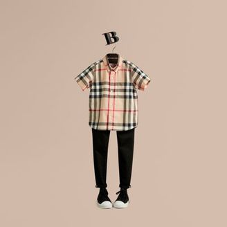 Burberry Short-sleeve Check Cotton Twill Shirt $130 thestylecure.com