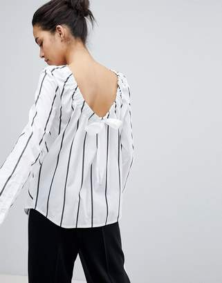 Sportmax CODE Code Striped Shirt with Ruched Tie