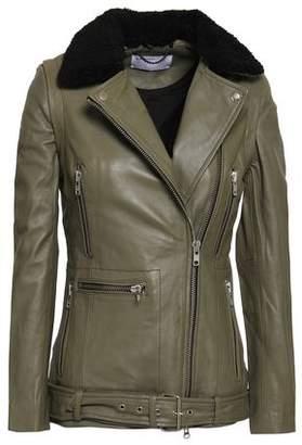Muu Baa Muubaa Convertible Shearling-trimmed Leather Biker Jacket