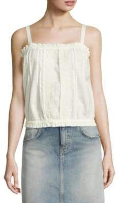Current/Elliott The Lace Cotton Eyelet Tank Top