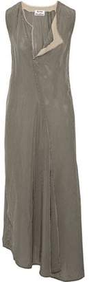 Acne Studios Asymmetric Gauze-Trimmed Checked Twill Midi Dress