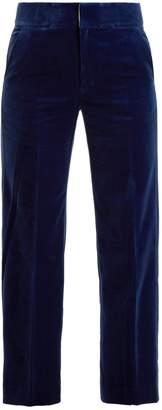 Muveil Straight-leg cotton-blend velvet trousers