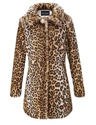 Bellivera Faux Fur Jacket Coat Womens Leopard Sexy Faux Fur Jacket Coat Long Sleeve Winter Warm Fluffy Parka Overcoat Outwear Tops Leopard