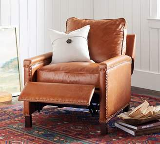 Pottery Barn Tyler Leather Square Arm Power Recliner With Nailheads
