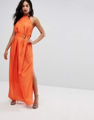 Aq/Aq AQ AQ Maxi Dress With Ruched Detail And Belt