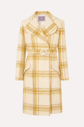 ALEXACHUNG Belted Checked Wool-blend Coat - Pastel yellow