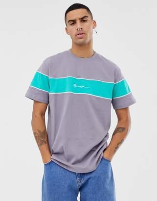 Mennace oversized t-shirt with block logo in gray