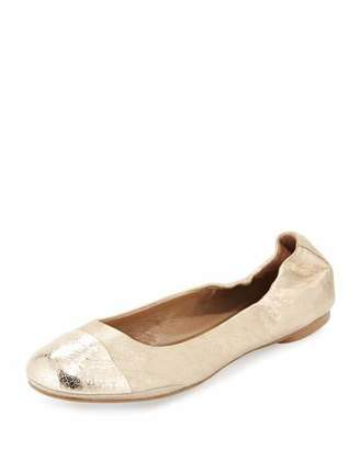 Delman Maya Metallic Ballet Flat, Platino $198 thestylecure.com