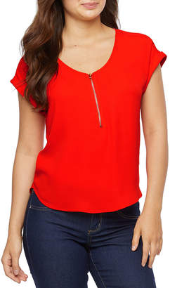 Bold Elements Womens V Neck Short Sleeve Blouse