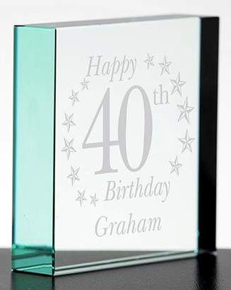 Fashion World Personalised Birthday Glass Block