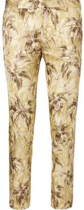 Dries Van Noten Patrini Slim-Fit Cropped Printed Satin Trousers