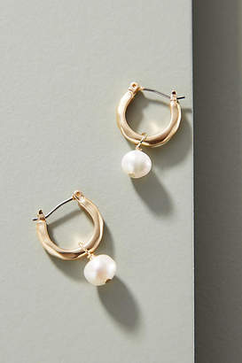 Anthropologie Aquata Pearl Hugger Hoop Earrings