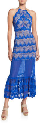 Nightcap Clothing Two-Tone Victorian Fan Stretch-Lace Halter Dress