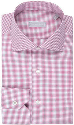 Stefano Ricci Fine-Stripe Plaid Cotton Shirt, Burgundy