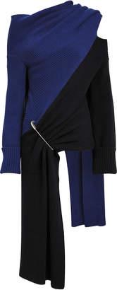 Monse Two-Tone Draped Merino Sweater