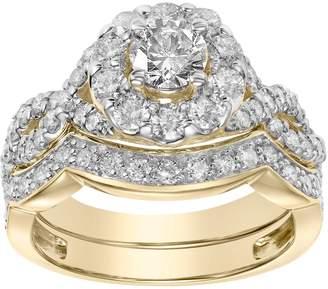 Vera Wang Simply Vera 14k Gold 2 Carat T.W. Diamond Halo Engagement Ring Set