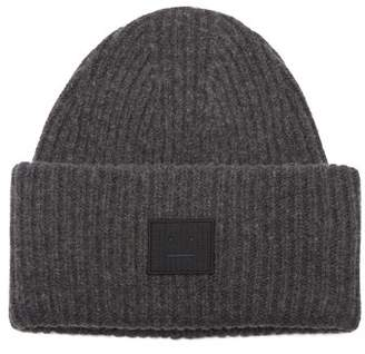 Acne Studios Pansy S Face Ribbed Knit Beanie Hat - Mens - Grey