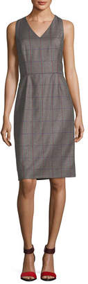 Carolina Herrera Plaid Wool V-Neck Sleeveless Dress