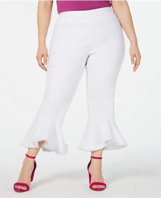 INC International Concepts I.n.c. Plus Size Pull-On Cropped Ruffled-Hem Pants