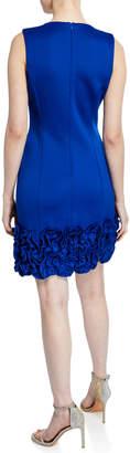 Donna Ricco Sleeveless Ruffle-Hem Mini Sheath Dress