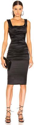 Dolce & Gabbana Satin Ruched Sleeveless Dress in Black | FWRD
