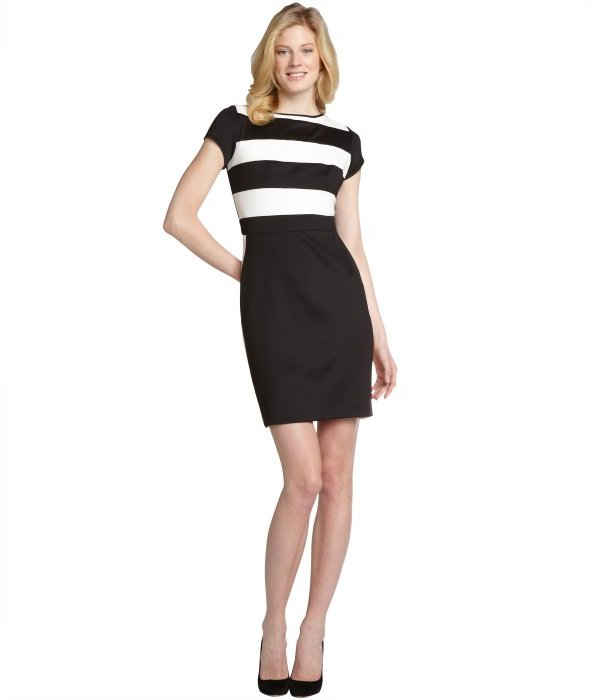 SD Collection black and white stripe top cap sleeve dress