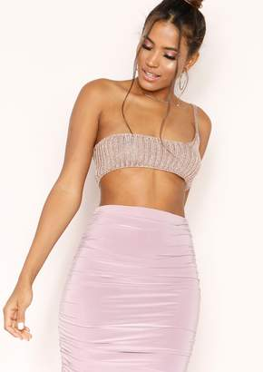 afdbfd15a48ca Missy Empire Missyempire Dolley Rose Gold Metallic Knit One Shoulder Bralet