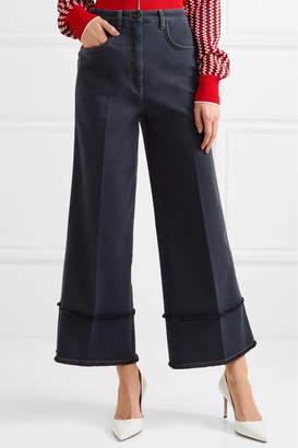 Miu Miu Cropped Frayed High-rise Wide-leg Jeans - Dark denim