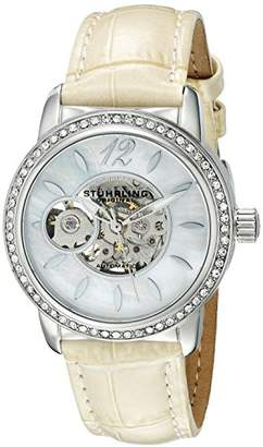 Stuhrling Original Legacy Delphi 856 Women's Automatic Watch with Mother of Pearl Dial Analogue Display and Beige Leather Strap 856.01