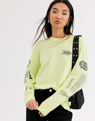 Monki oversized long sleeve slogan t-shirt in lime