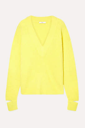 Tibi Oversized Cutout Alpaca-blend Sweater - Yellow