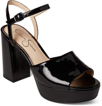 Jessica Simpson Black Kerrick Patent Platform Sandals
