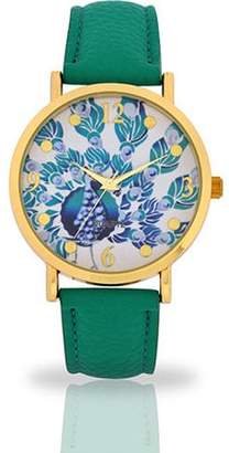 ACCUTIME WATCH CORP Women's Aqua Peacock Dial Watch, Faux Leather Band
