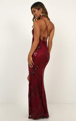Showpo Out Till Dawn Dress In Wine Sequin - 18 (XXXL) Occasion Dresses