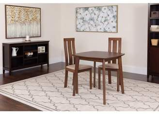 Flash Furniture Westport 3 Piece Walnut Wood Dining Table Set with Vertical Wide Slat Back Wood Dining Chairs - Padded Seats