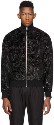 Versace Black Lurex Brocade Sweater
