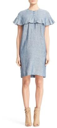 Women's Burberry Angela Ruffle Chambray Dress $550 thestylecure.com
