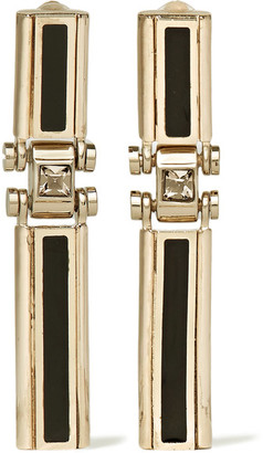 Lanvin - Gold-tone, Swarovski Crystal And Resin Clip Earrings - Metallic $995 thestylecure.com