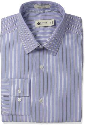 Haggar Men's End On End Stripe Point Collar Regular Fit Long Sleeve Dress Shirt