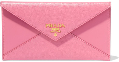 prada Prada - Envelope Textured-leather Wallet - Pink