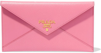 Prada - Envelope Textured-leather Wallet - Pink $370 thestylecure.com