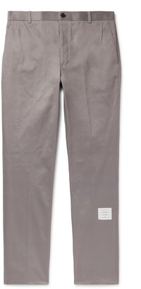 Thom Browne Grey Cotton-Twill Trousers - Men - Gray