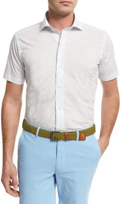 Peter Millar Flight Path Short-Sleeve Sport Shirt, Blue