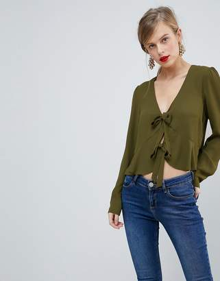 Asos DESIGN Ruffle Top with Tie Front