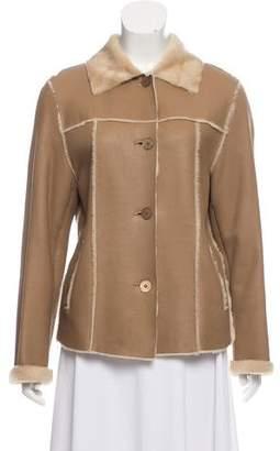 Fur Shearling Button Front Coat