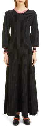 Roksanda Back Cutout Ribbed Maxi Sweater Dress