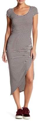 Couture Go Asymmetrical Short Sleeve Striped Dress