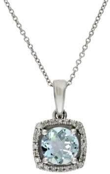 Effy Aquarius 14K White Gold Aquamarine and Diamond Pendant